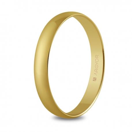 Alianza de boda, de oro amarillo y nueve quilates 3mm