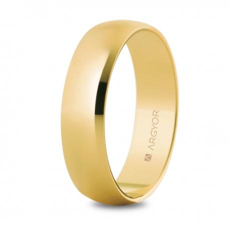 Alianza de boda, de oro amarillo y  nueve quilates 5mm
