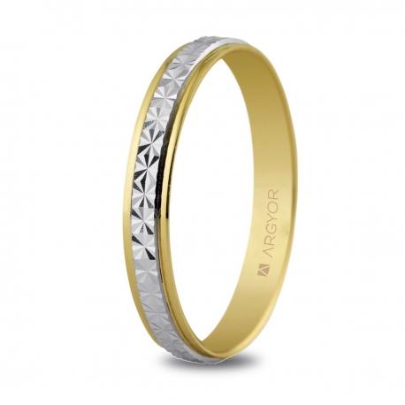 Alianza de boda, de bicolor oro  y nueve quilates facetada 3mm