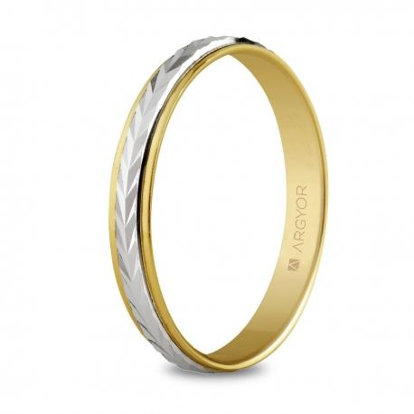 Alianza de boda, de bicolor oro y nueve quilates 3mm