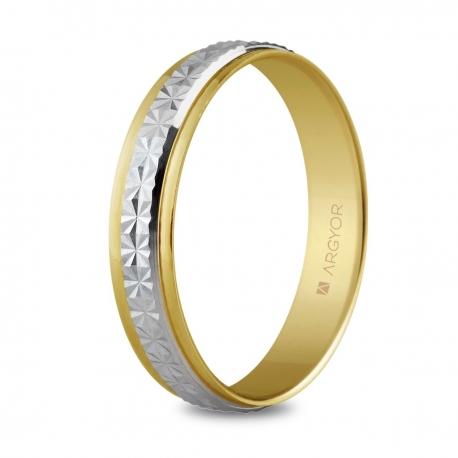 Alianza de boda, de bicolor oro  y nueve quilates facetada 4mm
