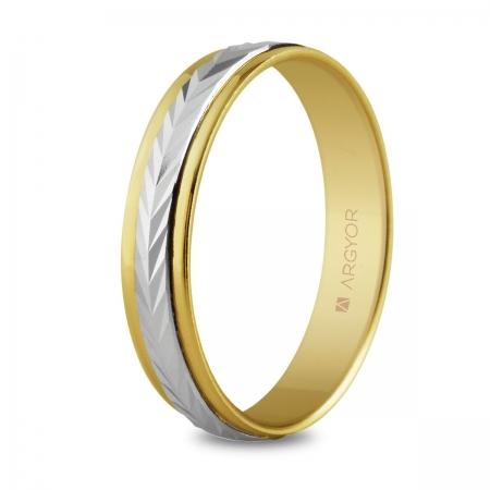 Alianza de boda, de bicolor oro  y nueve quilates 4mm