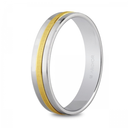 Alianza de boda, de bicolor oro y nueve quilates