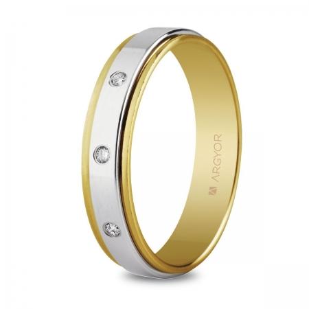 Alianza de boda, de bicolor oro  y nueve quilates 5mm