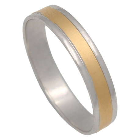 ALIANZA BICOLOR ORO MATE-BRILLO 4MM. ORO DE 18K