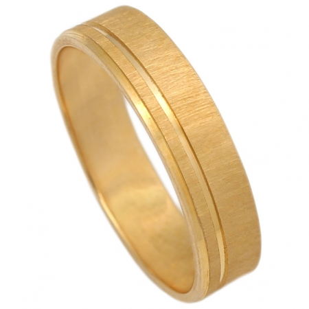 ALIANZA ORO MATE-BRILLO 5MM. ORO DE 18K