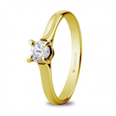 Sortija en oro amarillo de 18kt con un diamante 4.4mm en talla brillante de 0.34ct